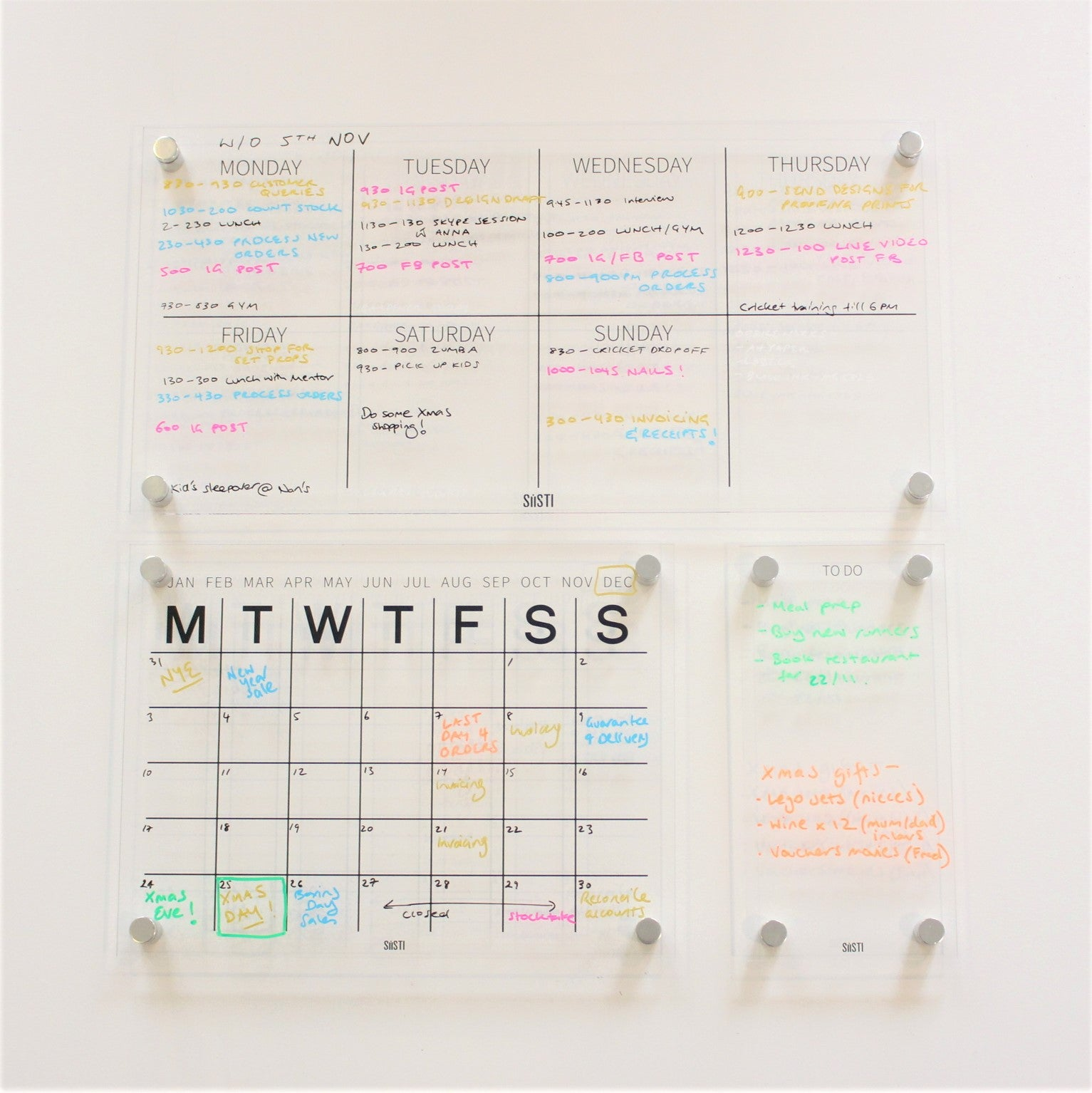 acrylic planning system with weekly wall planner