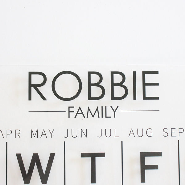 close up personalised wall calendar