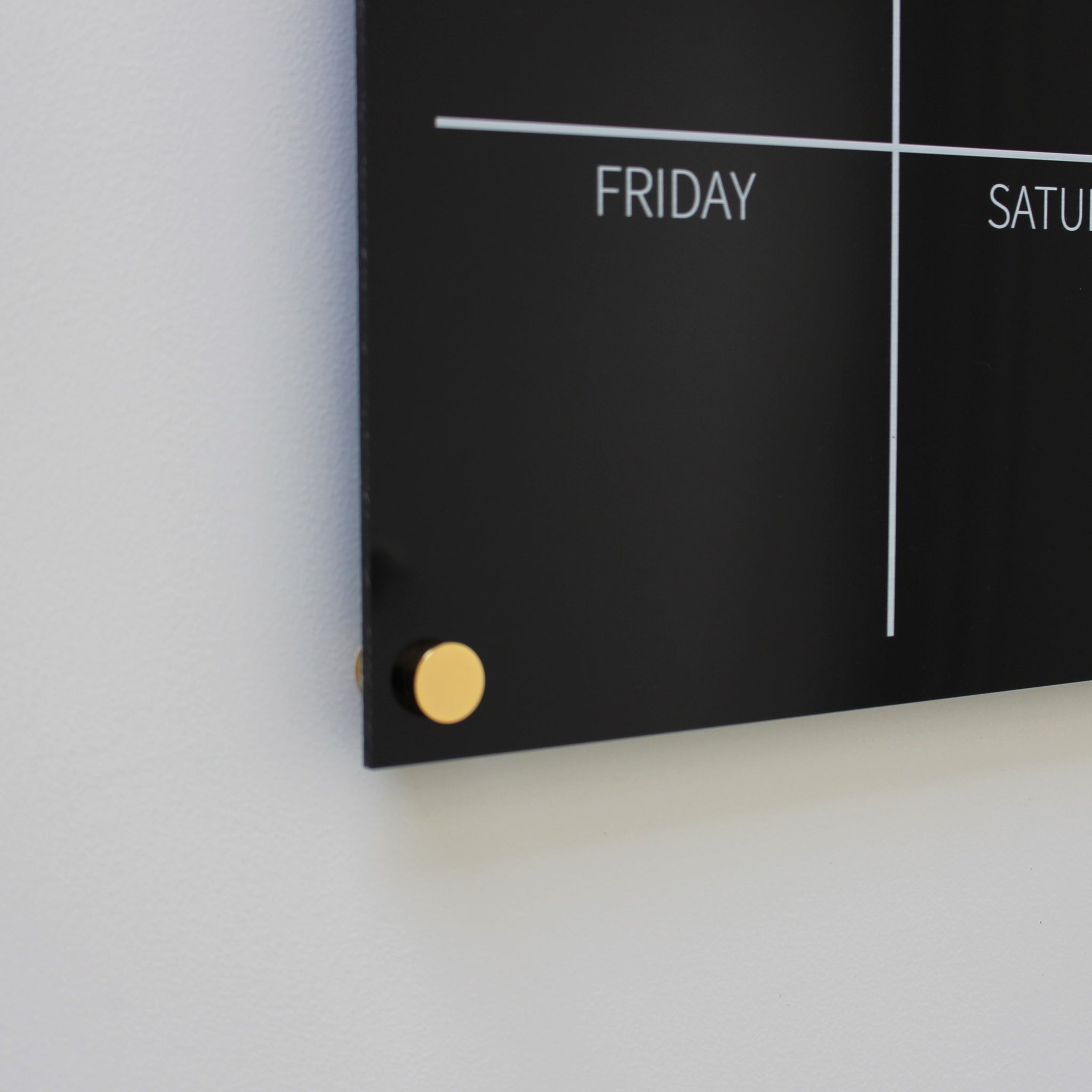 Black and white acrylic weekly wall planner