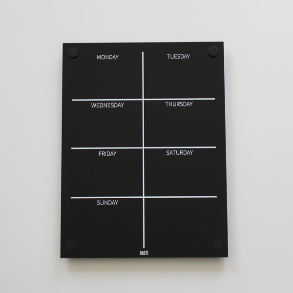 Portrait Weekly Wall Planner: BLACK