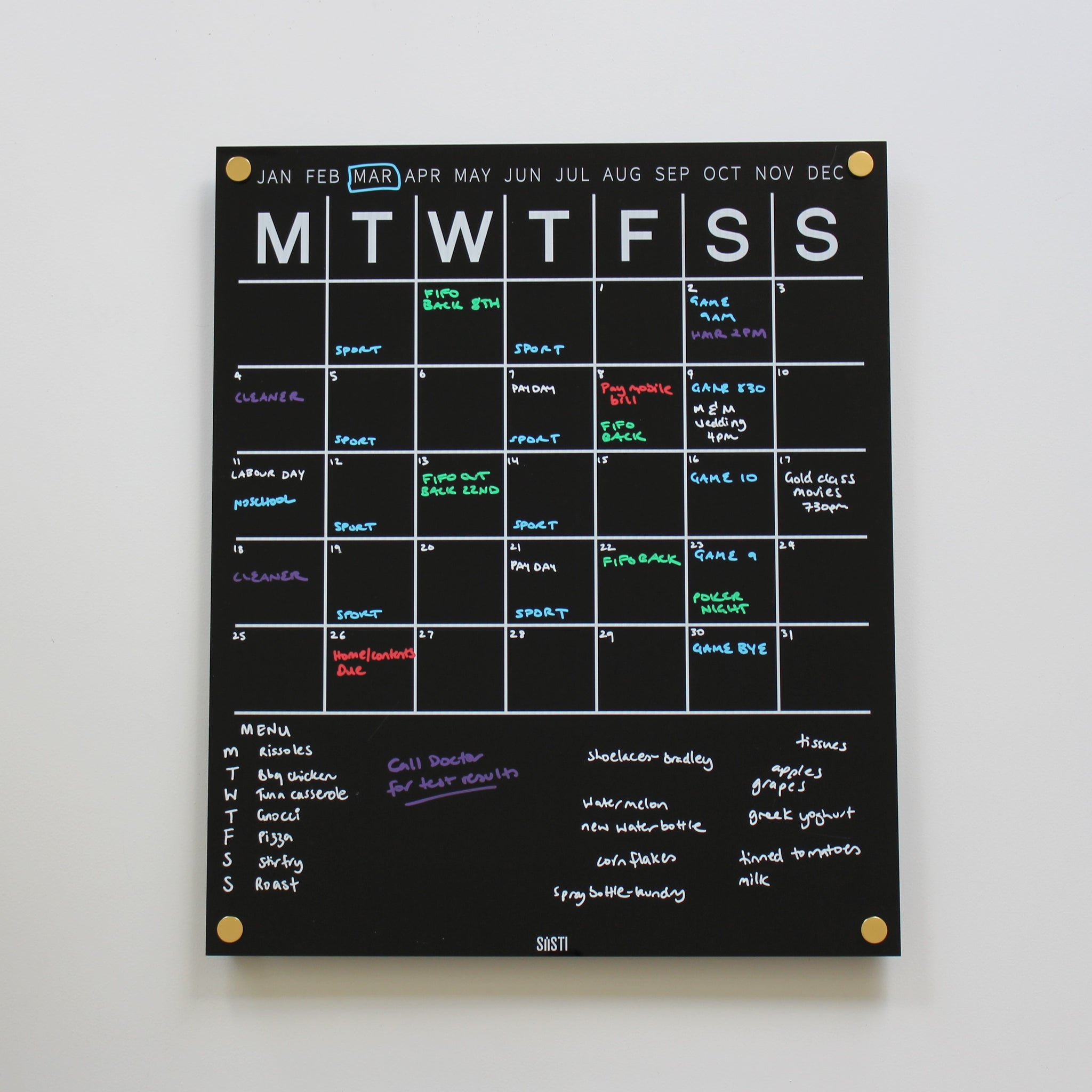 Perpetual Wall Calendar with Note Space - BLACK