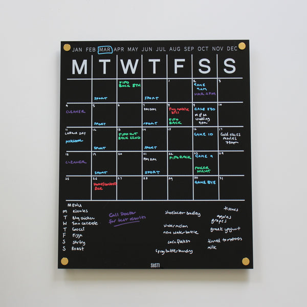 Perpetual Wall Calendar with Note Space: BLACK