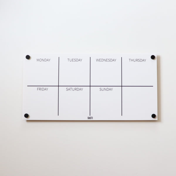 Landscape Weekly Wall Planner: WHITE