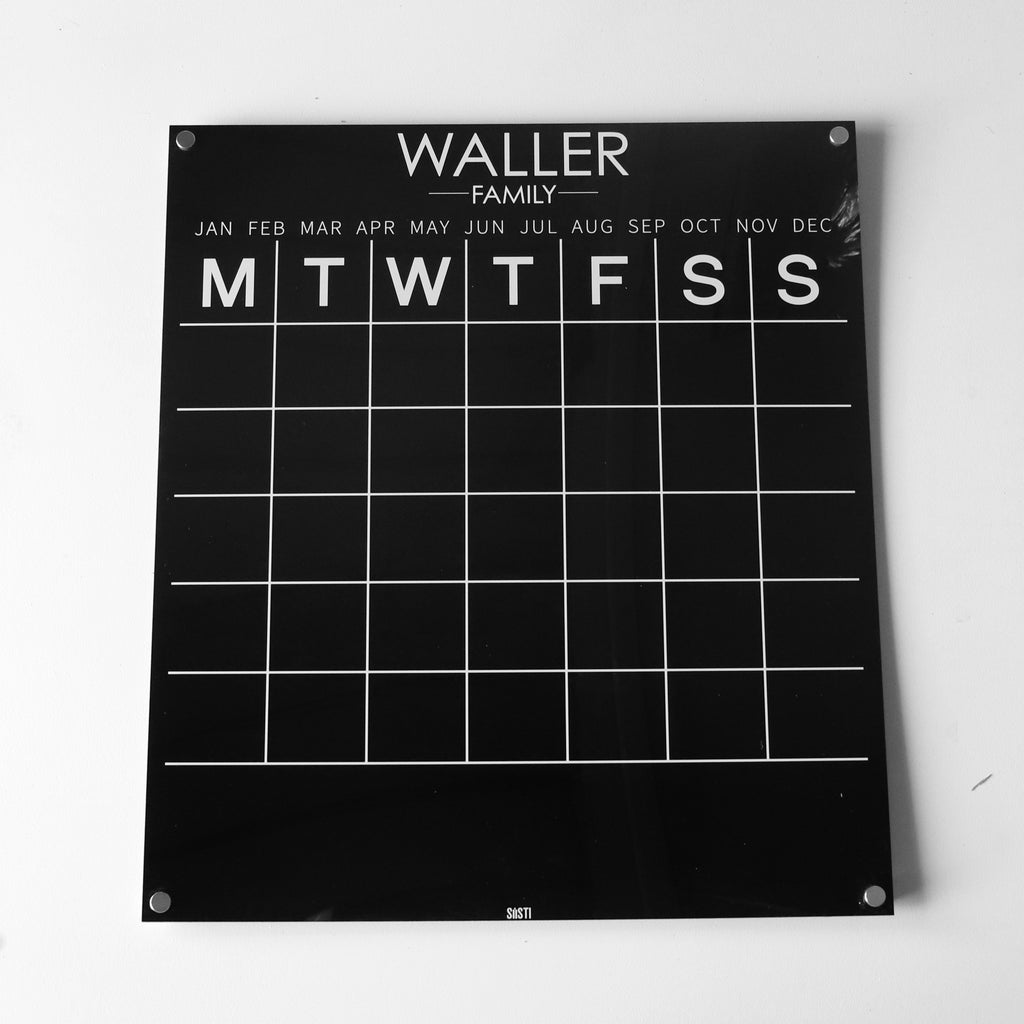 Personalised Wall Calendar: BLACK