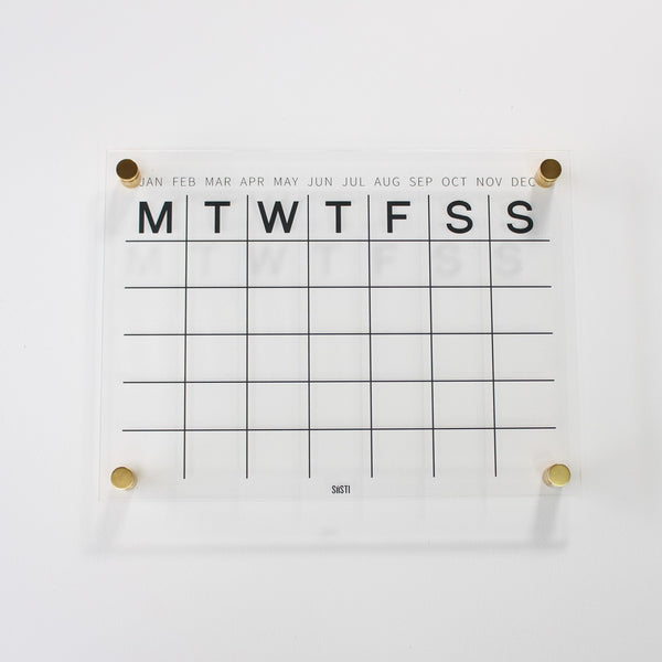 acrylic wall calendar with gold hardware