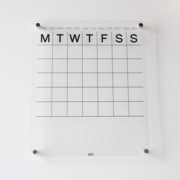acrylic wall calendar with silver mounts