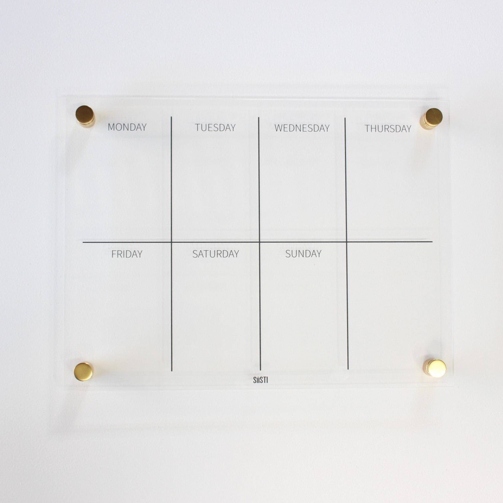 acrylic weekly wall planner with gold mounts