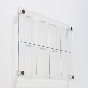 acrylic weekly wall planner with silver mounts