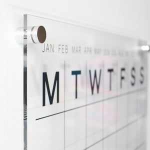 acrylic perpetual wall calendar with silver mounts