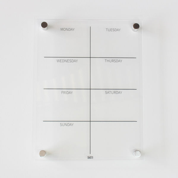 Portrait Weekly Wall Planner: CLEAR