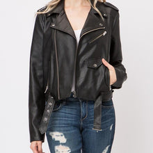 Load image into Gallery viewer, Black Leather Biker Jacket