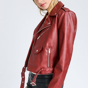 Plum Leather Biker Jacket