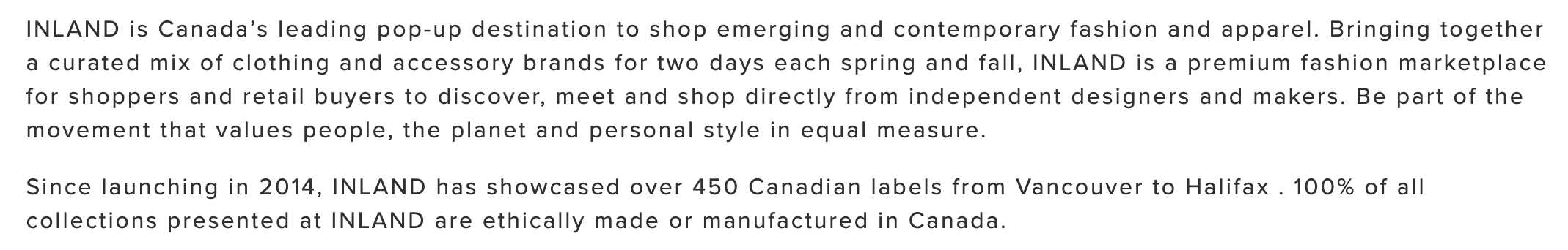 Inland, Pop Up, Canadian Fashion Retail Experience