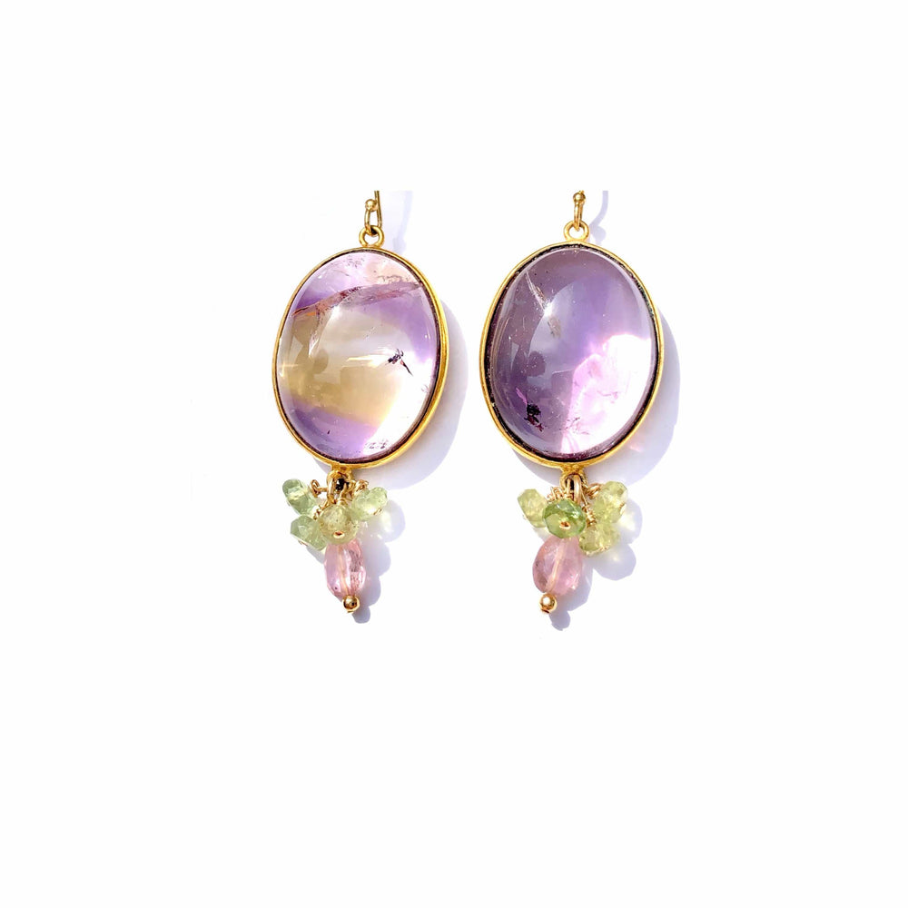 Erin Marcus Designs Earrings Ametrine Cabochon, Aquamrine and Tourmaline Earrings