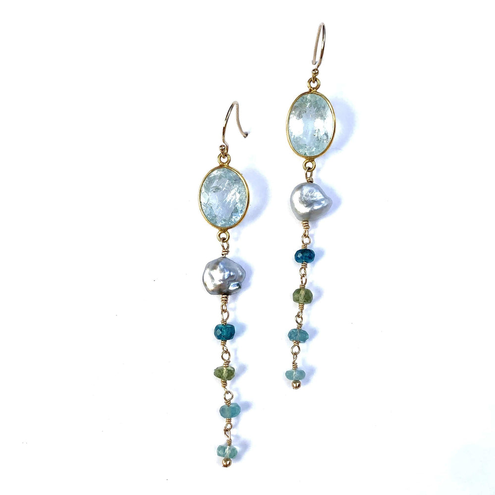Erin Marcus Designs Earrings Aquamarine Keshi, Long Earrings
