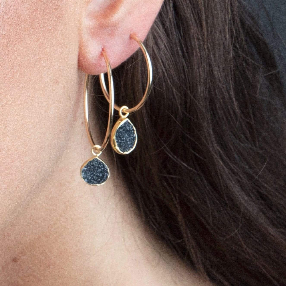 Erin Marcus Designs Earrings Hoop, Medium, Pear Black Quartz Druzy
