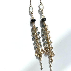 Erin Marcus Designs Earrings Long dangler earrings, Moonstone, Champagne Topaz and Moss Aquamarine