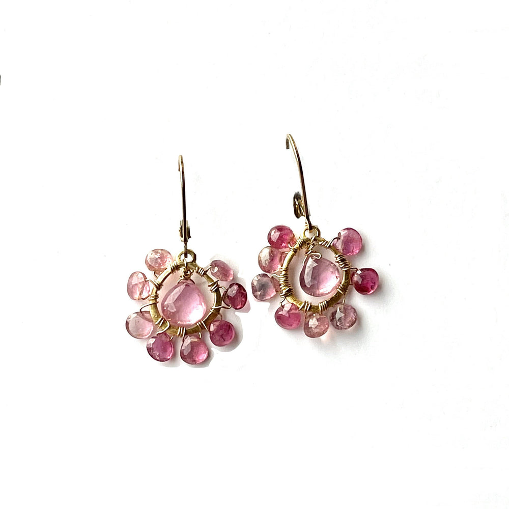 Erin Marcus Designs Earrings Pink Sapphire Tourmaline Floral Earrings