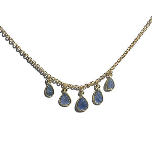 Erin Marcus Designs Necklace Blue Sapphire Carved Leaf Necklace
