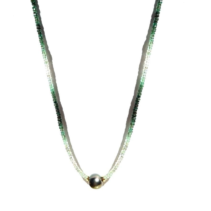 Erin Marcus Designs Necklace Copy of Single Tahitian with Mexican Fire Opal
