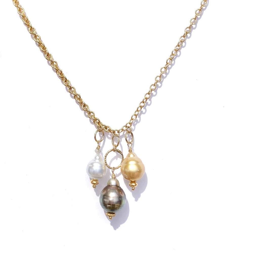 Erin Marcus Designs Necklace Giant Tahitian, Golden and Silver South Sea Pearls on Heavy Chain Necklace