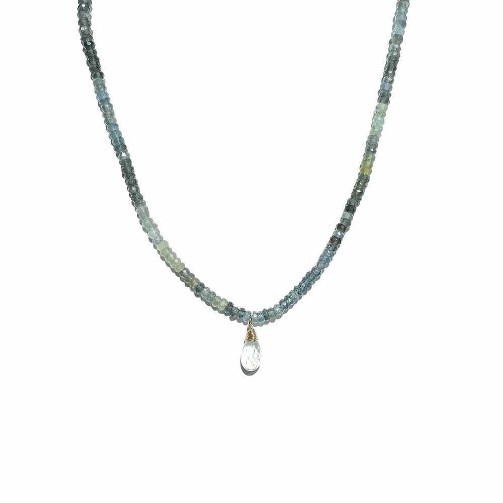 Erin Marcus Designs Necklace Moss Aquamarine And Aquamarine Drop Necklace