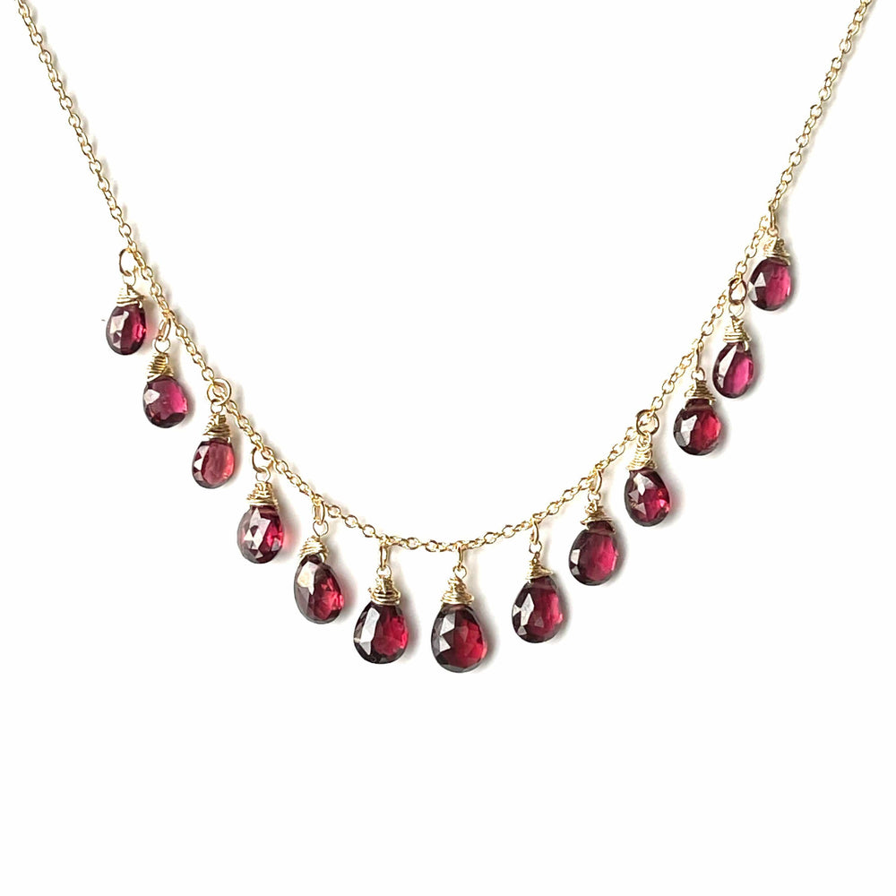 Erin Marcus Designs Necklace MultiStone Garnet Tear Drop Necklace