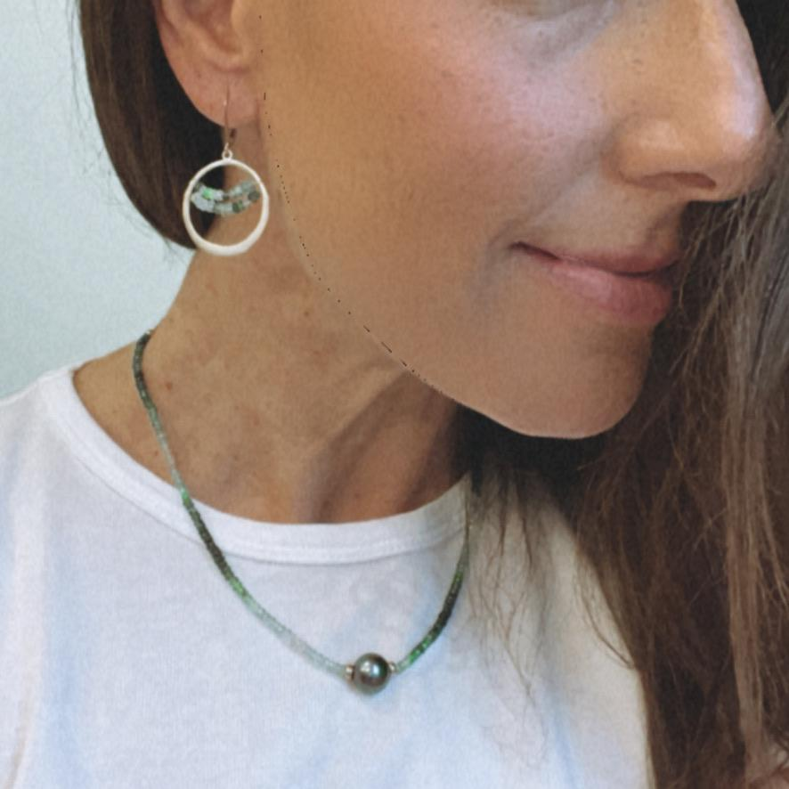 Erin Marcus Designs Necklace Ombre  Emeralds, Vermeil Flat Front Facing Hoops