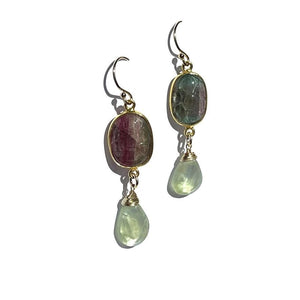 Erin Marcus Designs Necklace Oval Red Green Carved Tourmaline, Prehnite Earrings