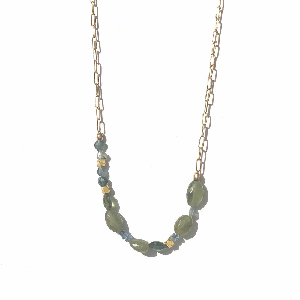 Erin Marcus Designs Necklace Sapphire, Tourmaline with Paper Clip Chain Necklace