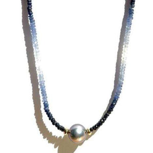 Erin Marcus Designs Necklace Single Tahitian with Blue Sapphires