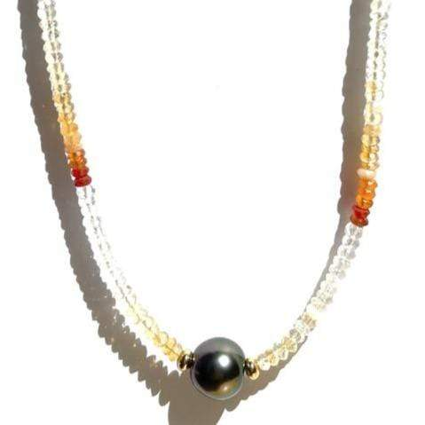 Erin Marcus Designs Necklace Single Tahitian with Mexican Fire Opal