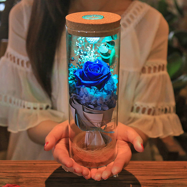 Illuminated Rose In a Bottle