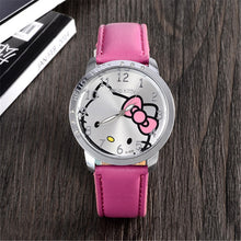 Hello Kitty Watch Women Kid Quartz WristWatch Cartoon Leather Cute Watch Children 3D Crystal Fashion Hot Relojes Christmas Gift
