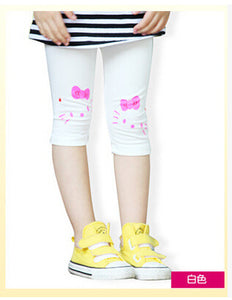 2015 New hello kitty Cat Prints Leggings Children Girl Lovely Summer Shorts Velvet Cropped Pants
