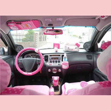 Hello Kitty Car Accessories Cute Cartoon KT Car Steering Wheel Cover Sun Visor CD Storage Bag Seat Belt Cover Shifter Hand Brake