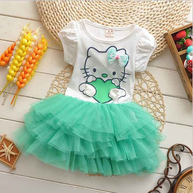 Hello Kitty Girls Dresses Summer 2017 Cartoon Wings Tutu Dress For Girls Kids Princess Dresses Girls Clothes Robe Enfant Cloth