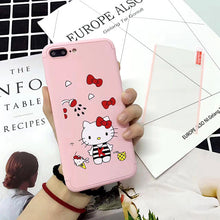 Luxury 3 in 1 Full Body Cover Protect Glass Case For iPhone 6 6s 7 Plus Cartoon Hello Kitty Hard PC Scrub Cases Back Phone