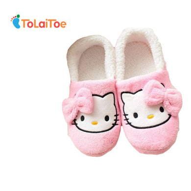 ToLaiToe Lovely Hello Kitty girls indoor slippers indoor slippers Cute cartoon bows TPR big good quality and low indoor slippers