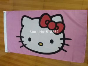 Hello Kitty Flag 3x5 FT 150X90CM Banner 100D Polyester flag  brass grommets 018, free shipping