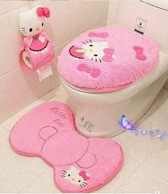 Hello kitty bathroom set toilet set cover  mat holder closestool lid cover   Bathroom products  Bathroom Accessories Sets 4pcs/s