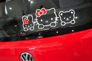 Aliauto Car Accessories Hello Kitty Car Stickers Lovely Cat Decal for Toyota Ford Chevrolet Volkswagen Honda Hyundai Kia Lada