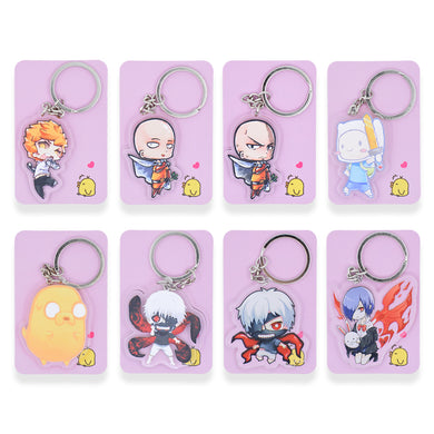 8 styles Tokyo Ghoul  Keychain Cute One Punch Man  Double Sided Key Chain Adventure Time Custom made Anime Key Ring PCB70-93