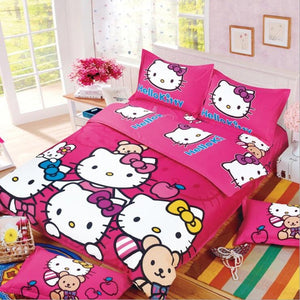Cartoon cut Mouse Hello Kitty cat 4pcs/3pcs Duvet Cover Sets Soft Polyester Bed Linen Flat Bed Sheet Set Pillowcase