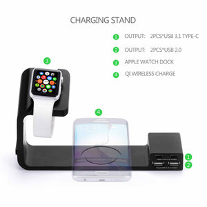 Multi Functional QI Wireless Charging Stand Plate Charge Dock Dual USB 2.0 Type-C