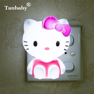 Tanbaby Hello Kitty LED Night Light AC220V Cartoon Night Lamp With US Plug Gifts For Kid/Baby/Children Bedroom Bedside Lamp