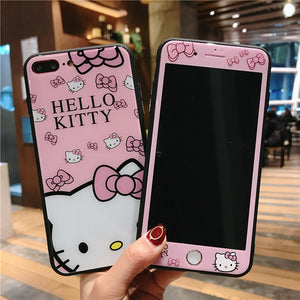 Hello kitty glass back case For iphone 8 plus/7 plus cute cartoon Cover + Tempered Glass for Apple iPhone X /6 6s color Screen