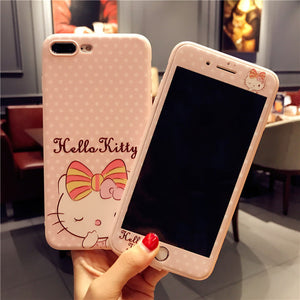 Hello kitty Film + case For iPhone 7 8 plus / 7Plus KT cat Tempered Glass for iPhone 6sPlus soft cover cartoon Screen Protector