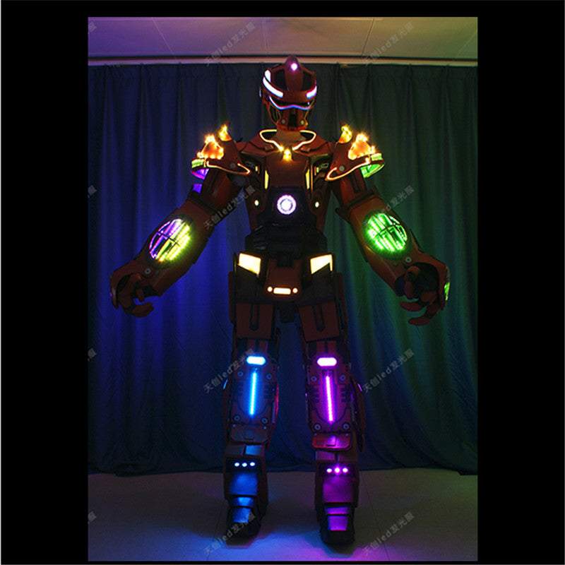 1LED robot dance costume wearable robot stagewear led helmet full color RGB light suit Programmable