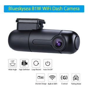Blueskysea B1W 1080P IMX323 Novatek GM8135S Mini WiFi Car Camera DVR Camera H.264 360degree MP4 Rotate Capacitor G-Sensor